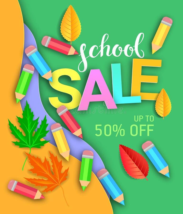 Manifesto pubblicitario per la vendita di scuole immagine stock