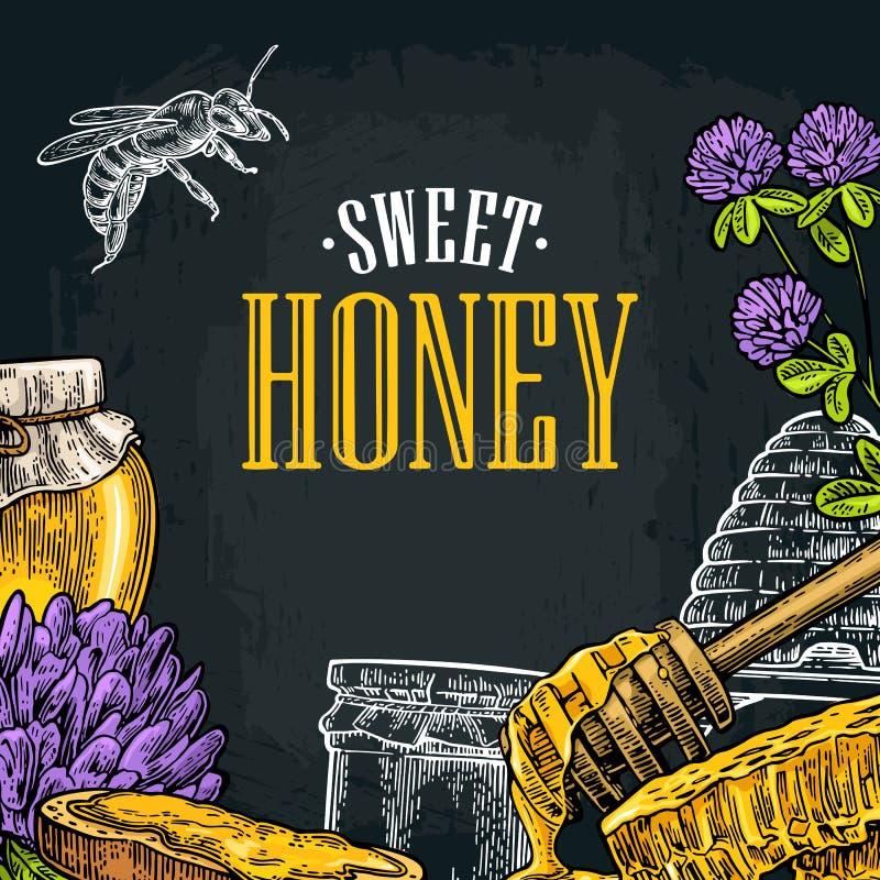 Manifesto quadrato con miele, favo, barattolo, cucchiaio, ape royalty illustrazione gratis