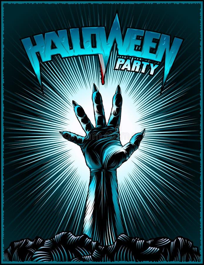 Manifesto radiante d'annata della stampa di orrore del fondo del partito di Halloween della mano dello zombie illustrazione di stock
