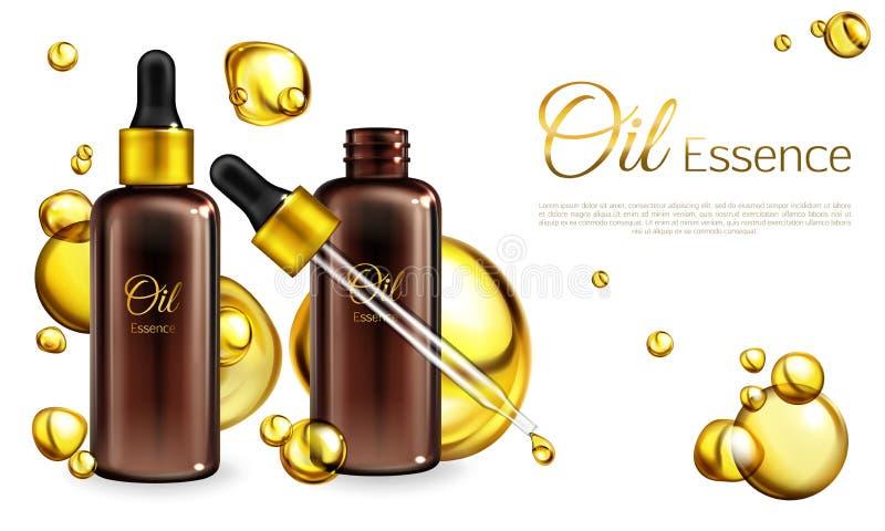 Manifesto realistico dell'annuncio dell'essenza dell'olio di vettore 3d illustrazione di stock