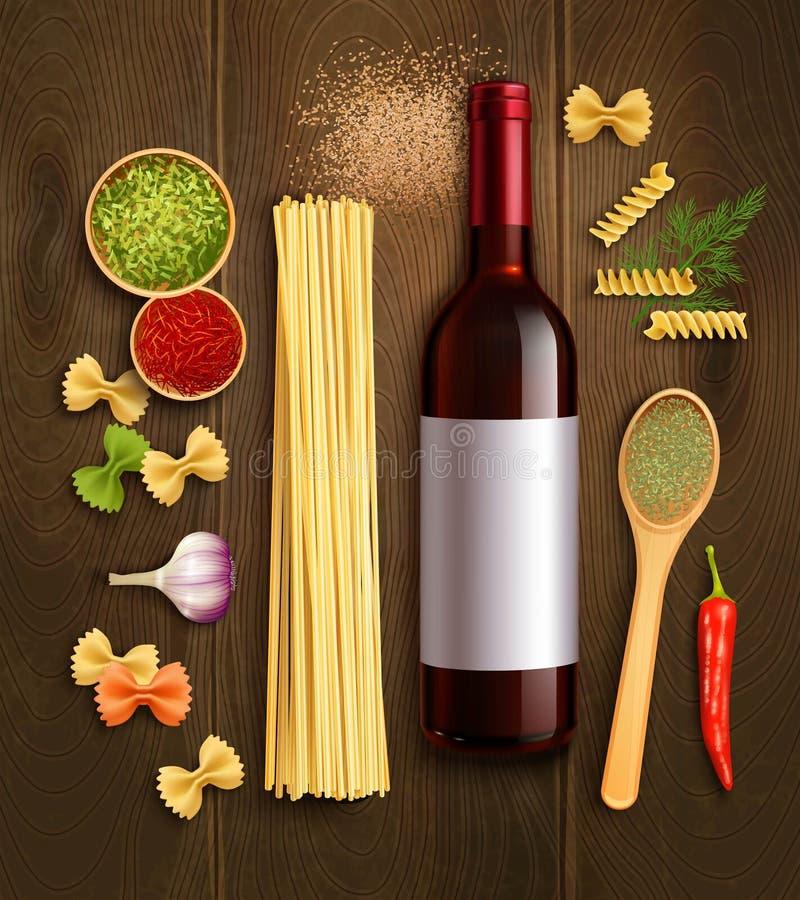 Manifesto realistico della composizione nel vino asciutto della pasta royalty illustrazione gratis