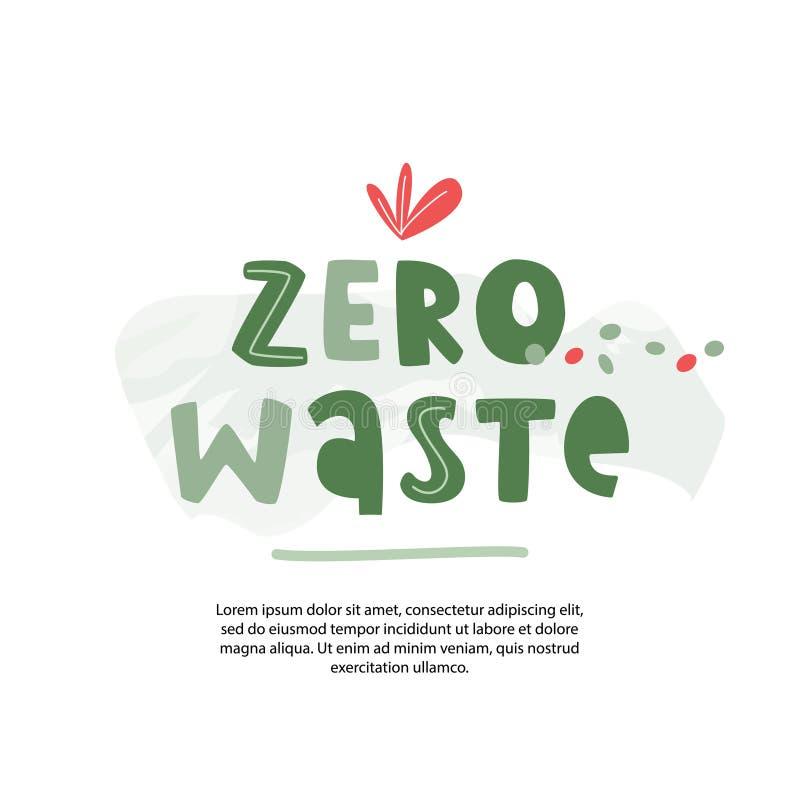 Manifesto residuo zero di concetto Fonte scritta a mano dei bambini audaci con il modello del testo Stile di vita ecologico di ec royalty illustrazione gratis