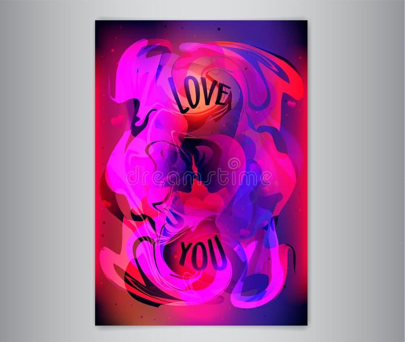 Manifesto romantico variopinto con l'uomo e la donna di profilo Priorità bassa astratta della vernice Amivi iscrizione illustrazione di stock
