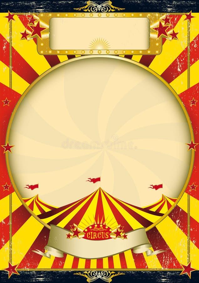 Manifesto rosso e giallo dell'annata del circo illustrazione di stock