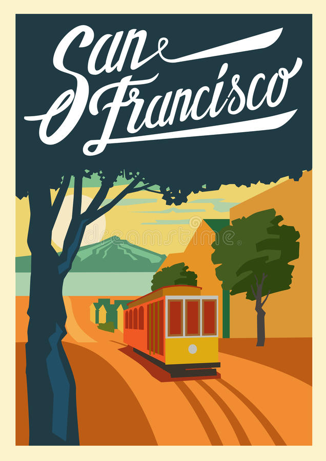 Manifesto San Francisco California royalty illustrazione gratis