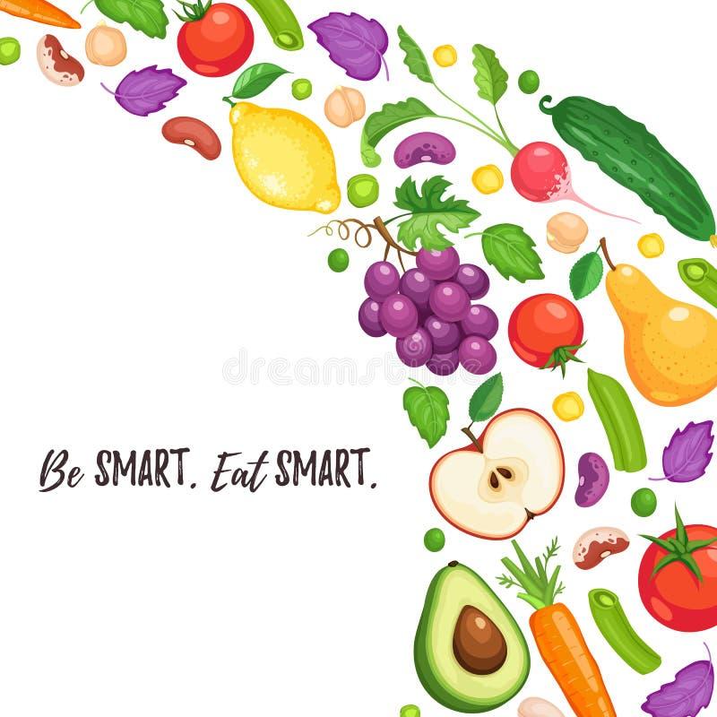 Manifesto sano di cibo illustrazione vettoriale
