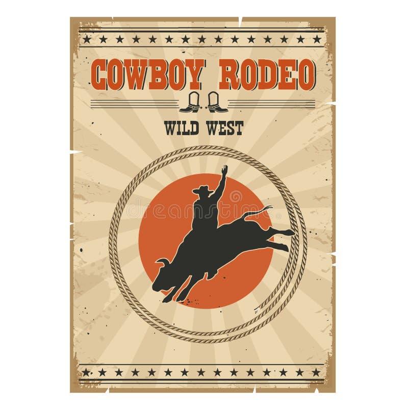 Manifesto selvaggio del rodeo del toro del cowboy Illustrazione d'annata occidentale con illustrazione vettoriale