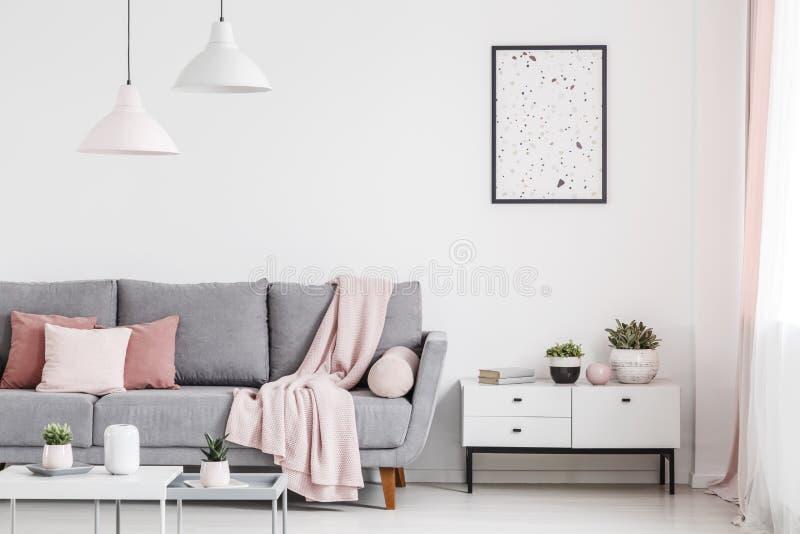 Manifesto sopra il gabinetto con le piante nell'interno piano bianco con il perno fotografie stock
