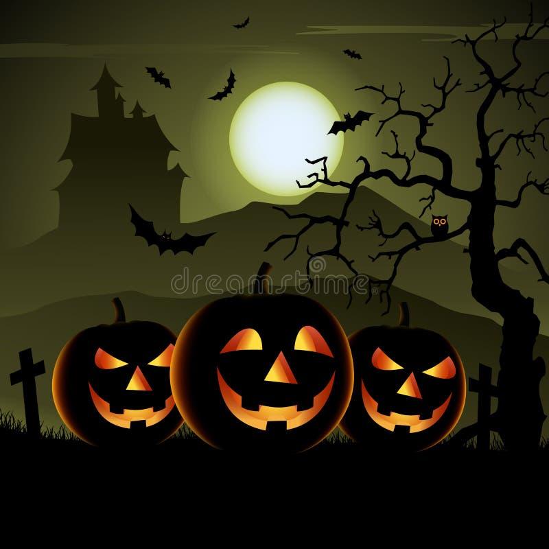Manifesto spettrale di Halloween con le zucche ed il castello misterioso illustrazione di stock