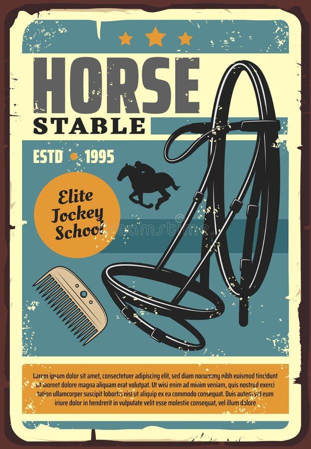 Manifesto stabile di lerciume della scuola della puleggia tenditrice dell'elite del cavallo illustrazione vettoriale
