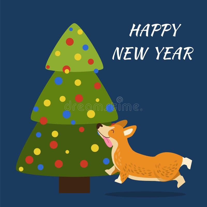 Manifesto sveglio del buon anno sull'illustrazione di vettore illustrazione di stock