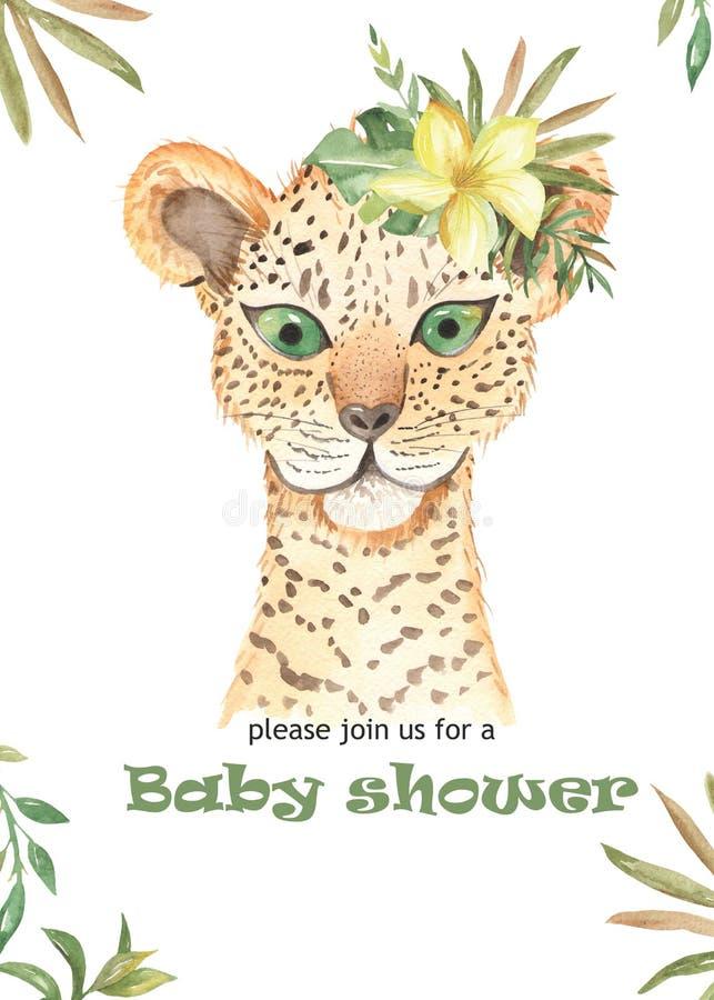Manifesto sveglio del fumetto dell'acquerello per i bambini giaguaro, tucano, cervo con i fiori tropicali illustrazione vettoriale