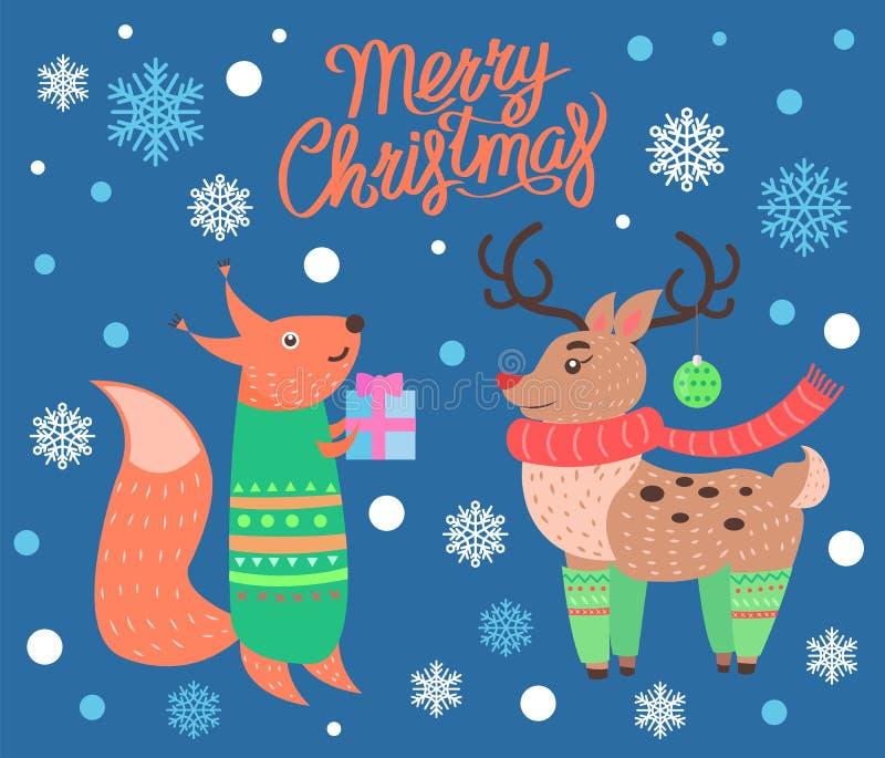 Manifesto sveglio di Buon Natale sull'illustrazione di vettore illustrazione di stock