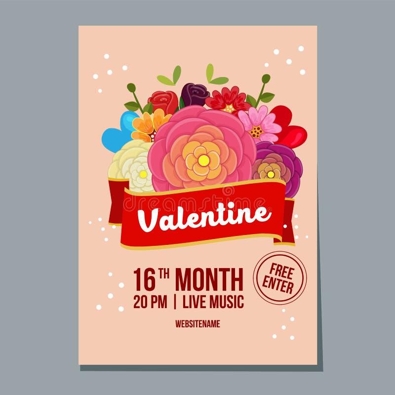 Manifesto sveglio di festival di settimana del biglietto di S. Valentino con il fiore del ranuncolo illustrazione di stock