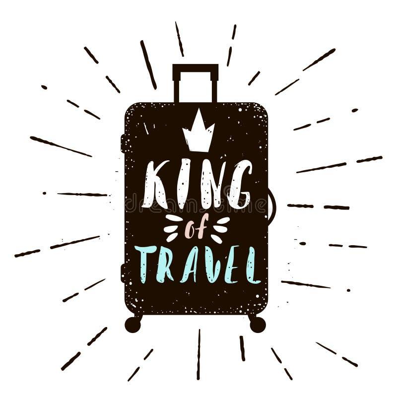 Manifesto tipografico con la siluetta di caso Re del testo di viaggio Illustrazione di vettore nel retro stile illustrazione vettoriale