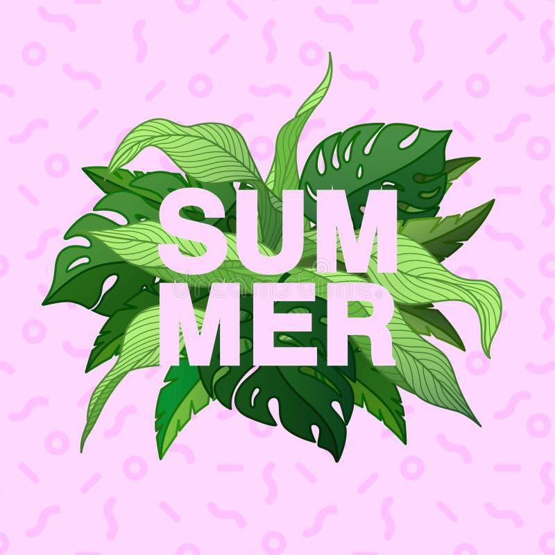 Manifesto tipografico di estate con le foglie e Memphis tropicali royalty illustrazione gratis