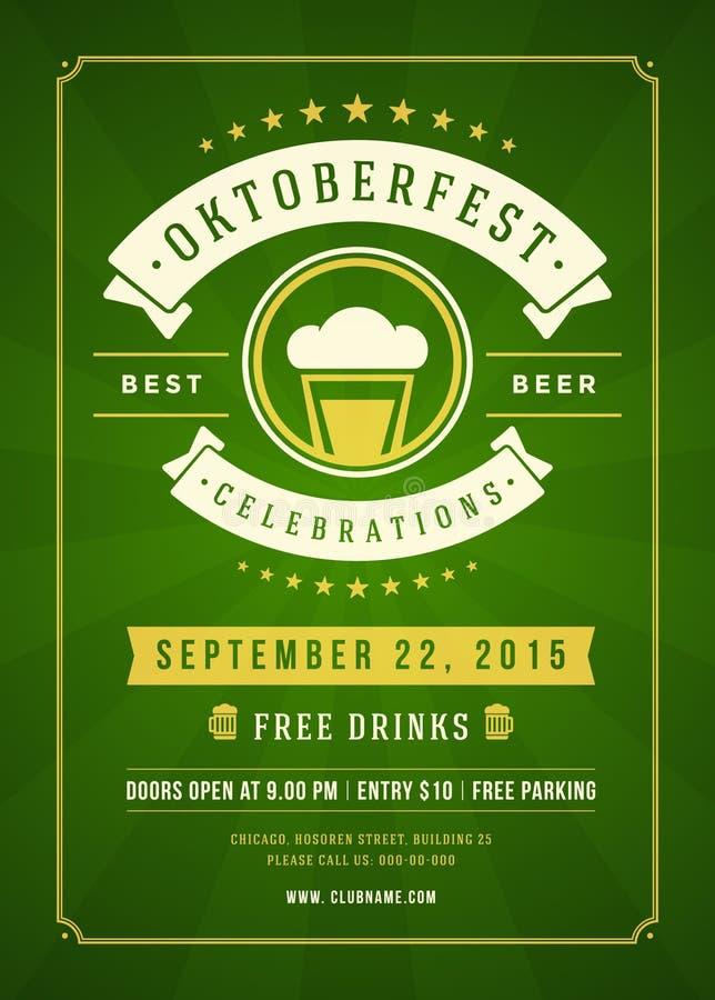Manifesto tipografico di festival della birra di Oktoberfest royalty illustrazione gratis