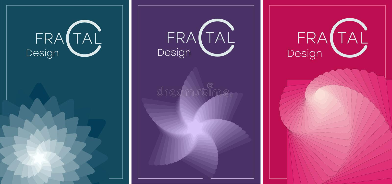MANIFESTO 10 un insieme degli opuscoli con i frattali geometrici royalty illustrazione gratis