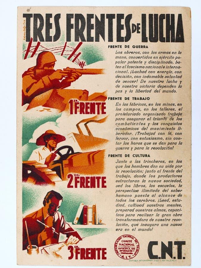 Manifesto valenzano delle parti anteriori del ` tre di CNT del ` di lotta Guerra civile spagnola immagine stock