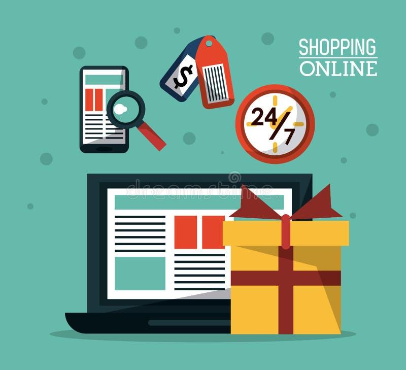 Manifesto variopinto che compera online con il computer portatile ed il regalo che comprano online illustrazione vettoriale