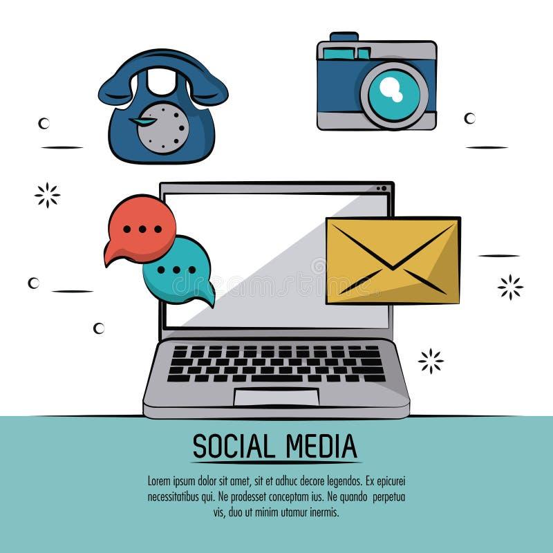Manifesto variopinto dei media sociali con la posta delle icone e vecchio telefono e discorso della bolla e posta con del compute illustrazione vettoriale
