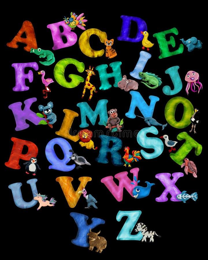 Manifesto variopinto di alfabeto degli animali del plasticine 3D fotografia stock libera da diritti