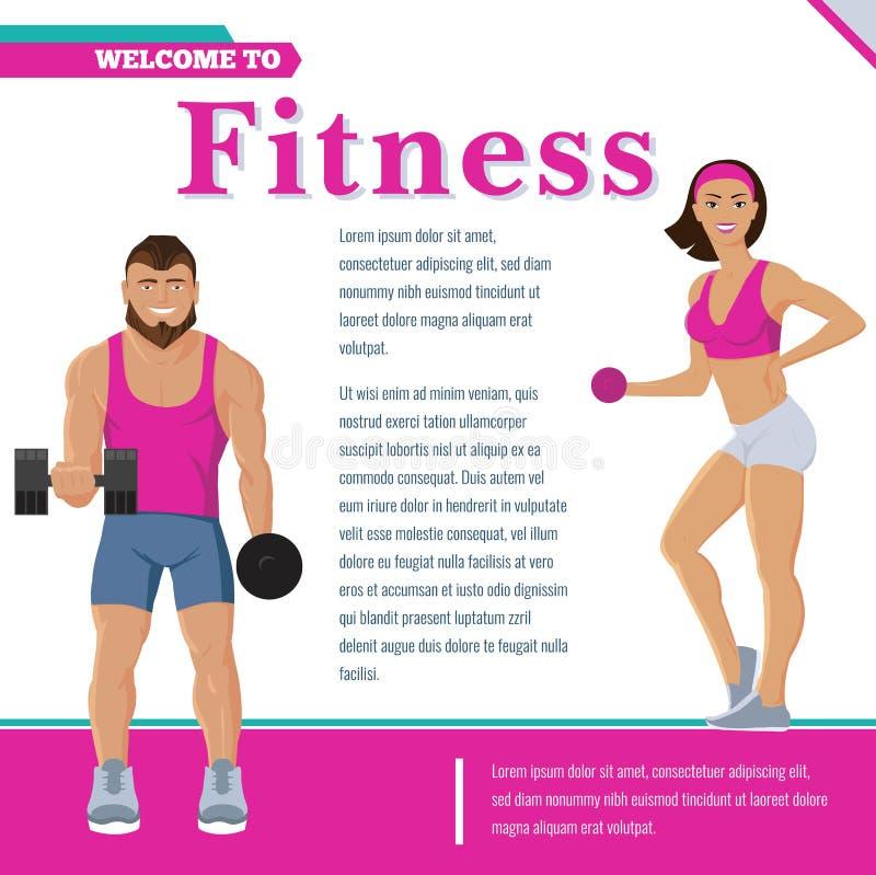 Manifesto variopinto di forma fisica e di sport illustrazione vettoriale