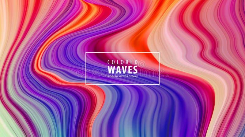 Manifesto variopinto moderno di flusso Forma liquida di Wave nel fondo blu di colore Disegno di arte Illustrazione di vettore illustrazione di stock