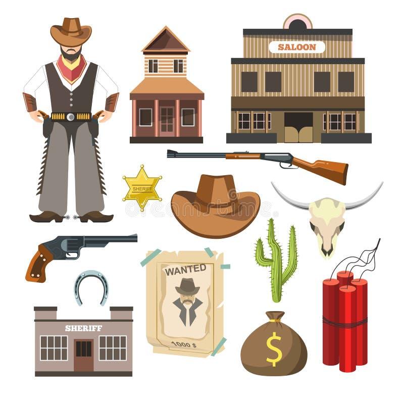 Manifesto variopinto piano di simboli del segno di vettore del modello del cowboy royalty illustrazione gratis