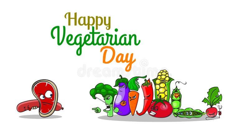 Manifesto vegetariano di giorno del mondo con i personaggi dei cartoni animati Verdure contro carne Gli inseguitori arrabbiati ce illustrazione di stock