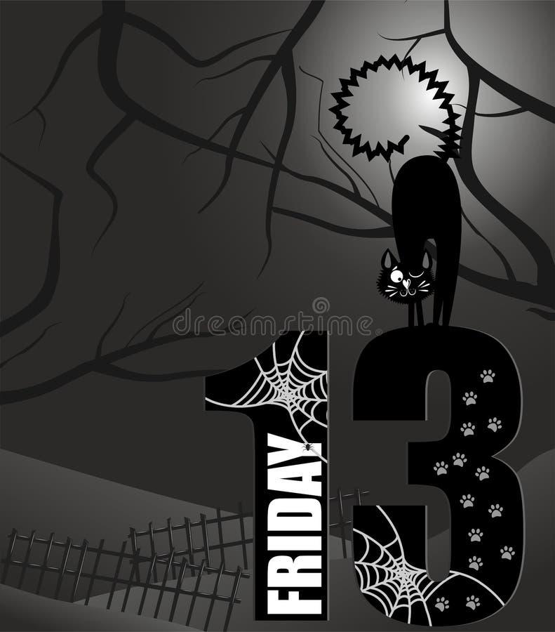 Manifesto venerdì il tredicesimo illustrazione di stock