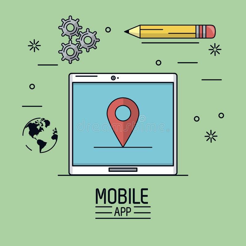 Manifesto verde del fondo del cellulare app con il dispositivo della compressa con il puntatore della mappa in schermo ed icona d illustrazione vettoriale