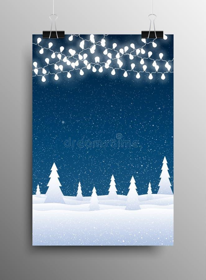 Manifesto verticale Caduta della neve garland Natale illustrazione di stock
