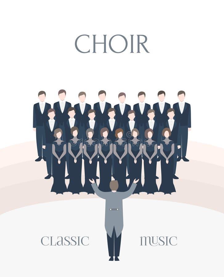 Manifesto verticale di pubblicità del coro classico di prestazione Cantanti della donna e dell'uomo insieme al conduttore colorfu illustrazione di stock