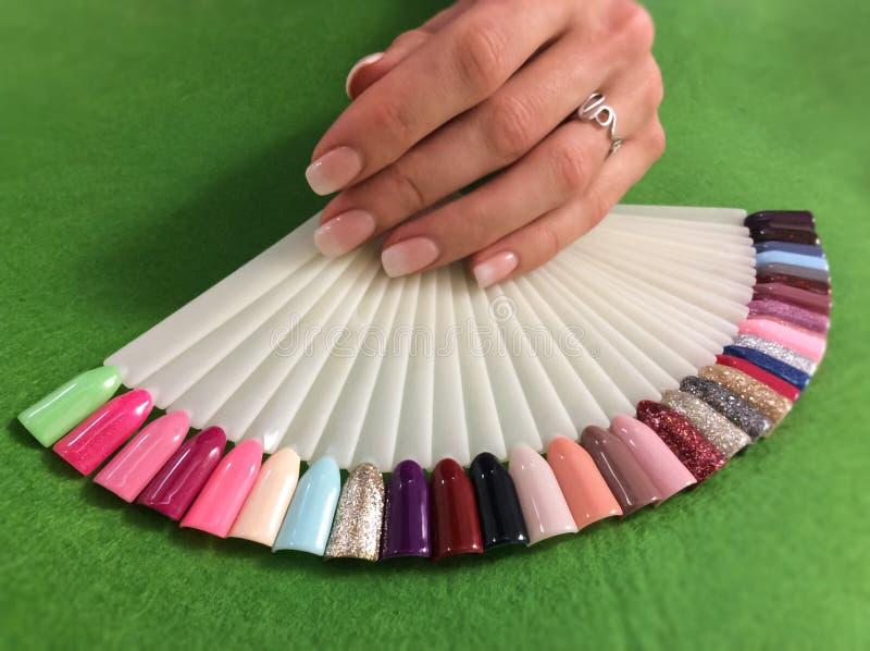Maniküre- und Nagelfarbproben Frauenhände mit Maniküre und lizenzfreie stockfotos
