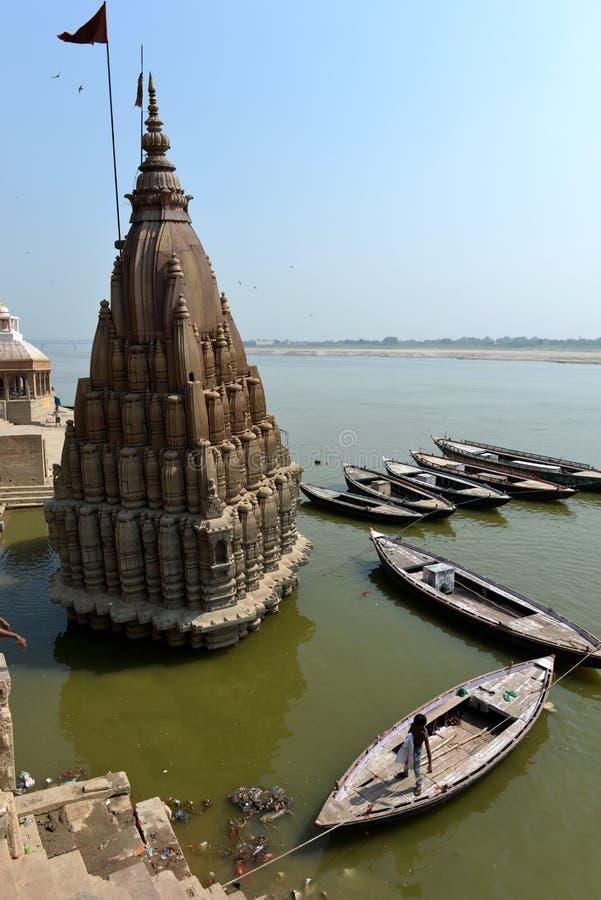 Manikarnika w Varanasi Ghats obrazy royalty free