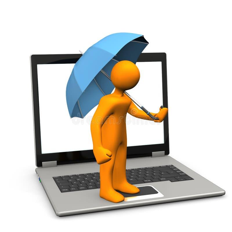 Manikin Laptop Umbrella vector illustration