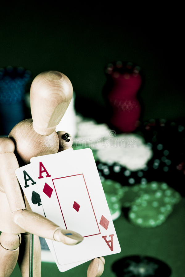 Manikin Plays Poker Royalty Free Stock Photography