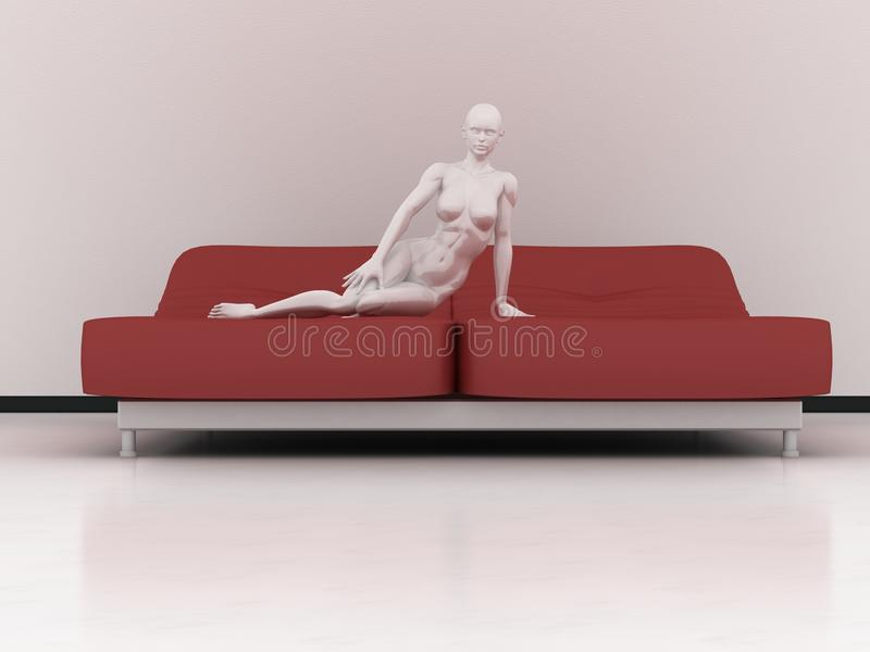 Download Manikin on red bed stock illustration. Illustration of interiors - 17312775