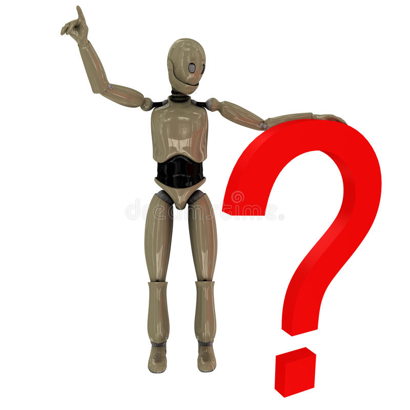 Manikin Robot And Question Mark Stock Photo