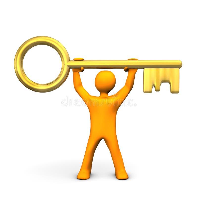 Download Manikin Złoty klucz ilustracji. Ilustracja złożonej z skrytka - 28972005