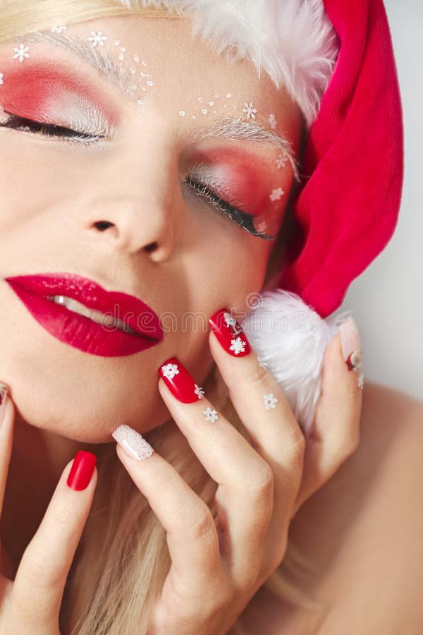Manikyr och makeup för ` s för nytt år royaltyfri fotografi