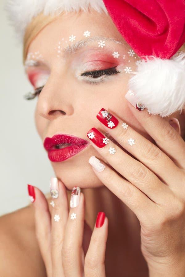 Manikyr och makeup för ` s för nytt år royaltyfri foto