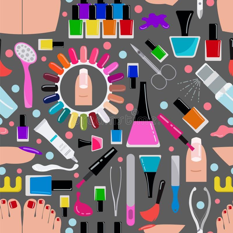 Manikyr spikar salongen seamless modell royaltyfri illustrationer
