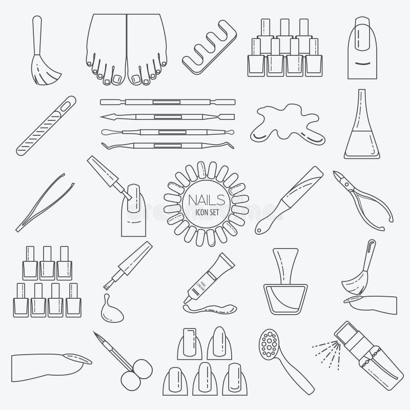 Manikyr spikar salongen Vektor i CMYK-funktionsläge Tunn linje design vektor illustrationer