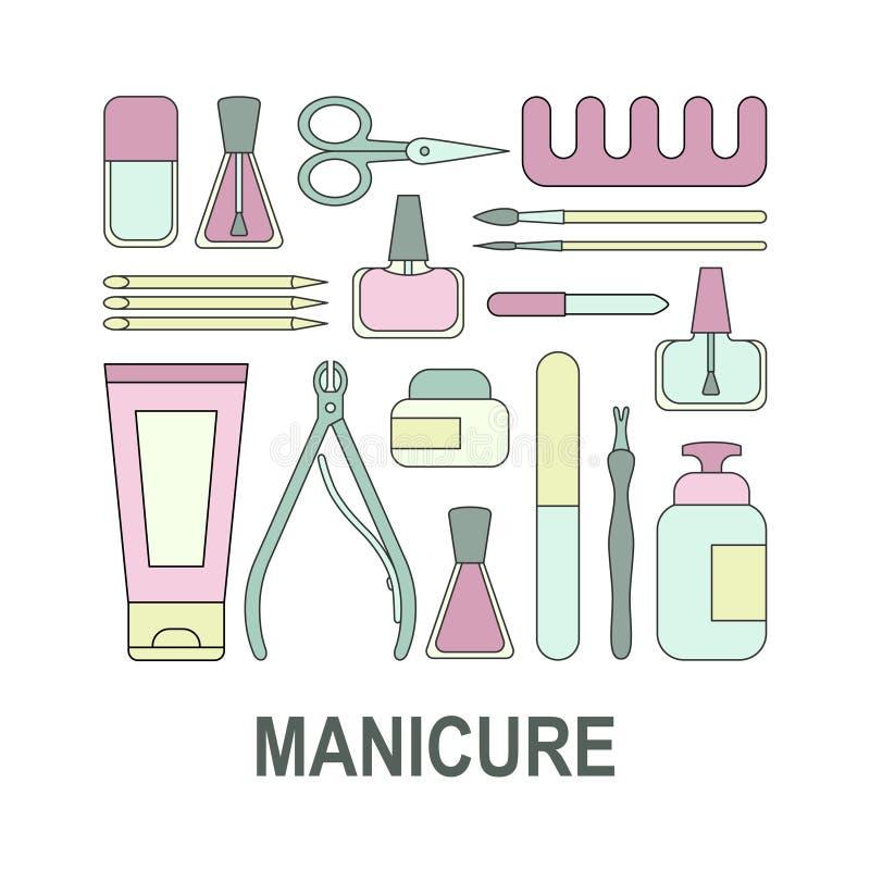 Manikyrhjälpmedel och tillbehör En uppsättning av beståndsdelar på ämnet av spikar manikyr för shoppar, tidskriften, salongen, af vektor illustrationer