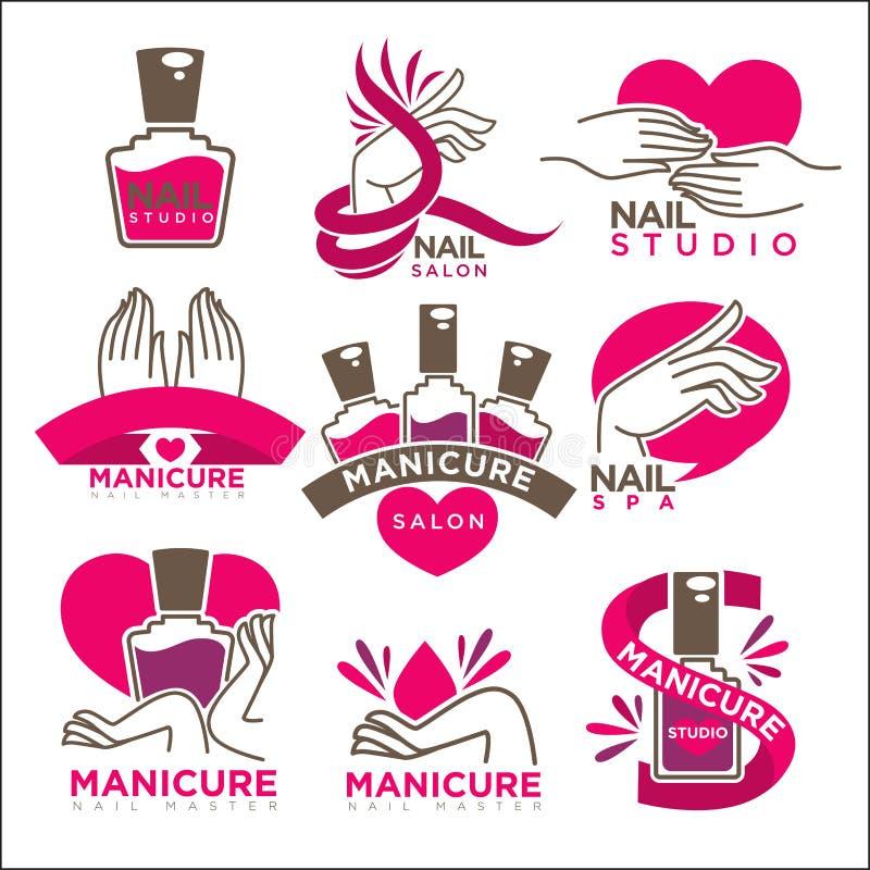 Manikyrsalongen och spikar mallar för symboler för studiovektorlägenhet vektor illustrationer