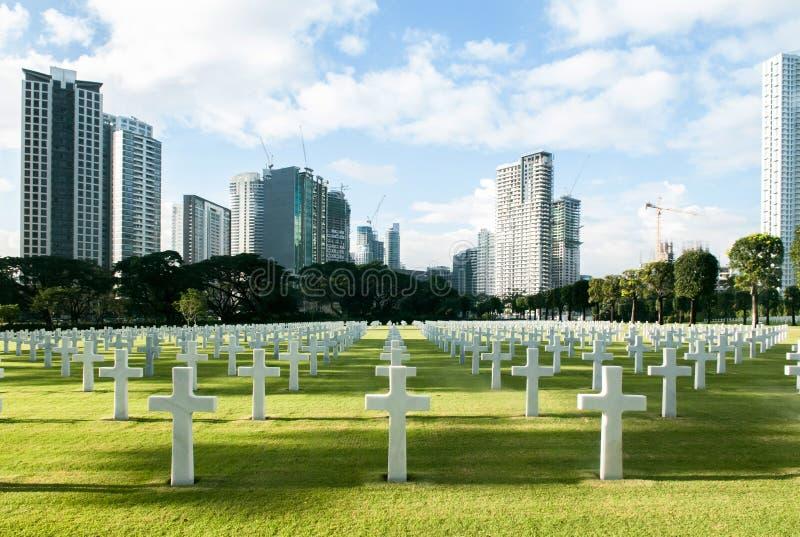 Manila amerikansk kyrkogård och minnesmärke med härligt dagsljus fotografering för bildbyråer