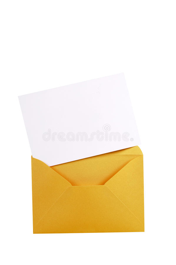 Manila brown envelope with blank letter card, white copy space, isolated. Manila brown envelope with blank letter card royalty free stock images