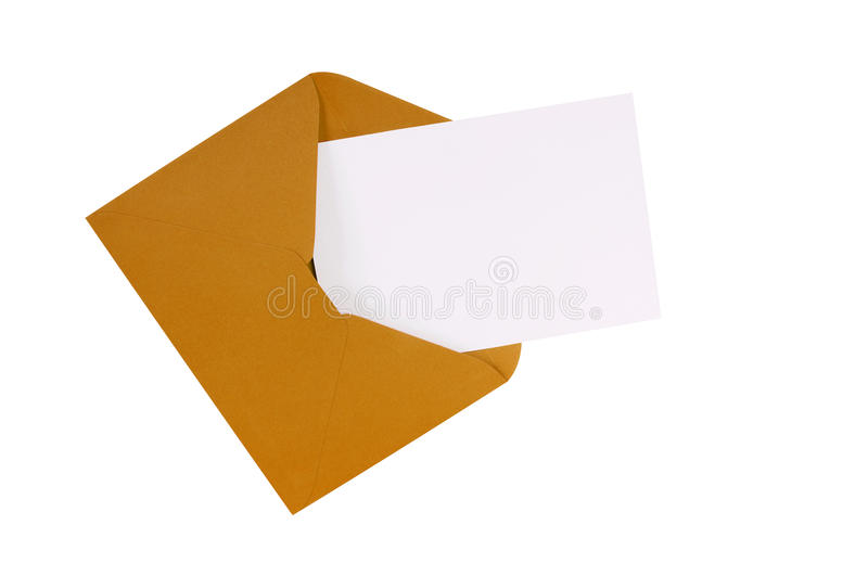 Manila brown envelope blank note card, isolated, copy space. Brown manila envelope with blank white greeting card stock photos